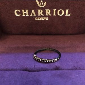 Charriol laetitia stainless cable ring blk. spinel